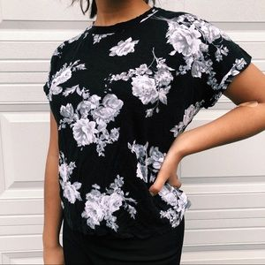 Forever 21 Black & White Photorealistic Floral Tee